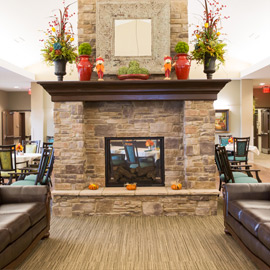Living area fireplace